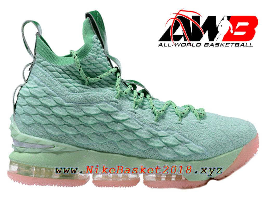 c46b33e35e8e9 Chaussures de BasketBall Pas Cher Pour Homme Nike LeBron 15 Prix Vert Rose  897648-ID2 ...